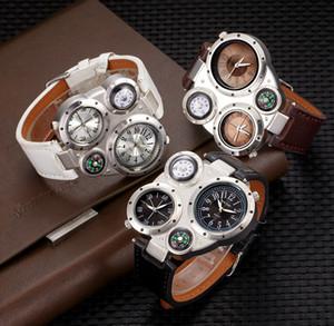 Regalo di Natale ginevra bussola grande quadrante orologio da uomo multi-time all'ingrosso due orologi da passeggio tempo orologi sportivi all'aperto orologi da passeggio
