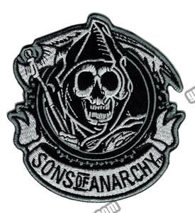 """Moda SOA Reaper Crew ricamato ferro sulla toppa moto Heavy Metal Punk Applique Badge Patch frontale 3.5 """"G0448"""
