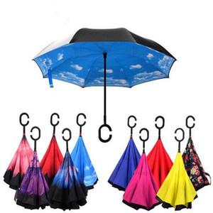 Windundurchlässiger umgeklappter doppelter umgedrehter Chuva-Regenschirm-Selbststand auf links Regenschutz-C-Haken-Hände für den Autoregen im Freien