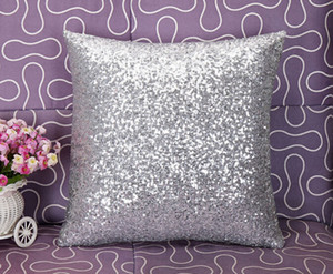 Solid Color Sequins Pillow Europa Luxurious confortável Almofada cintura decorativa Glitter decorativa Caso Início Tampa do carro fronha