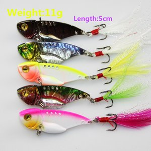 5pcs of metal spoon fishing lures with feather bionic hard artificial swimbait wobbler bass pike sea fishing accessories pesca tackle hooks