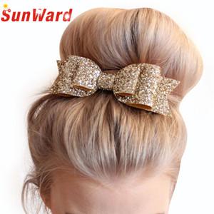 Wholesale-Baby Girl Kids Paillettes Bowknot Bow Clip di capelli Sweet Glitter Bow Clip di paillettes Europa Baby copricapo Accessori