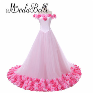 Princess Arabic Flowers Colored Pink Wedding Dress Puffy Ball Gown Bridal Dresses 2018 Vintage Hochzeit Kleid Brazil Retail
