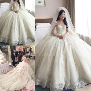 Vestido de fiesta con encaje de encaje Vestidos de novia Manga larga Cuello escarpado Capilla Tren Apliques Iglesia de cuentas Jardines Vestidos de novia robe de mariée