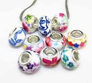 Hecho a mano de la joyería de DIY Porcelana de cerámica de gran agujero de impresión de flores bolas Fit encantos europeos pulseras de la joyería DIY