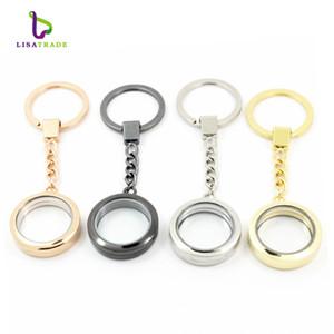 30mm runde magnetische Glasmedaillon keychains schwimmende Charme Medaillon keychain 4 Farben können Zink-Legierung LSFK02 wählen