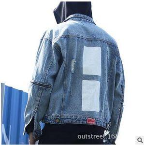 424 Jacket Zipper Agujero Ripped Vintage Jacket Wash Stand Collar Jean Chaquetas Casual Loose BF Style Coats Abrigo de alta calidad 2 colores