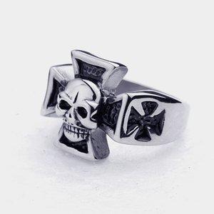 Нержавеющая сталь 316L серебро черный крест ад череп байкер мужские кольца размер США