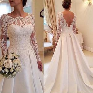 Fanty Jewelry Neck maniche lunghe pizzo applique Corpetto Corte treno abito da sposa schiena aperta sexy Abiti da sposa vestido de Noiva Curto