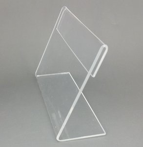 Vários Tamanho Médio T1.2mm Limpar Acrílico Plástico Sinal de Exibição de Papel Cartão de Etiqueta de Preço Titular da Marca L Em Forma de Suporte Horizontal Na Tabela 20 pcs
