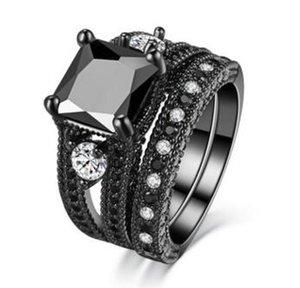 Luxuriöse schwarze Gold-Sets aus hochwertigem schwarzen nano Zirkon-Schwarz-Goldring