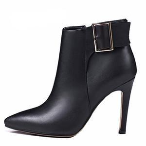 2017 primavera sutumn invierno tacones altos sexy botines de cuero genuino tamaño pequeño zapatos para mujer tacón de aguja