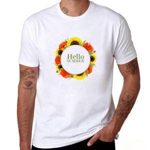 مرحبا الصيف القمصان الإبداعية الرجل القطن قصير الأكمام الصيف نمط تي شيرت جديد عارضة الزهور تي شيرت الأولاد
