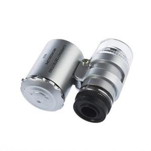 60 kat mini mikroskop ile açık mor ve beyaz led ışıkları takı büyüteç antika değerlendirme taşınabilir büyüteç cam A660