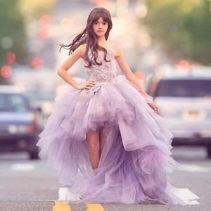 100% real imagen Lavanda Alto Bajo chicas del desfile de vestidos de tul de encaje balón vestido de los niños vestidos de partido de los vestidos de las muchachas de flor