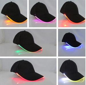 Casquettes de baseball à LED coton noir blanc brillant Casquettes de boule de lumière LED brillent dans l'obscurité réglable Snapback chapeaux chapeaux de fête lumineux 20 pcs