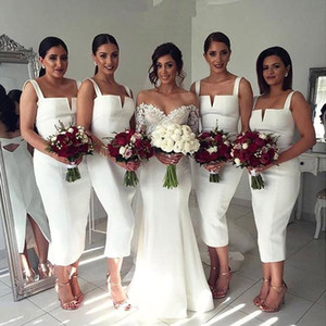 2020 blusa blanca de longitud de té vestidos de dama de correas espaguetis cortocircuito de la envoltura criada del partido Vestidos BA4494 Por debajo de 100