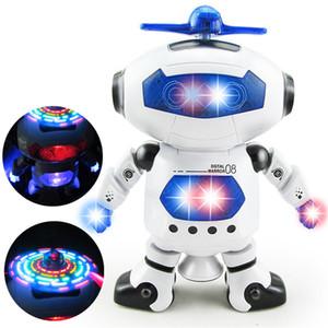 Akıllı 360 Dönen Uzay Dans Robot Elektronik Kızılötesi Müzikal Yürüyüş Hafifletmek için Çok fonksiyonlu Akıllı Oyuncaklar Çocuk Robot oyuncaklar 30 ADET