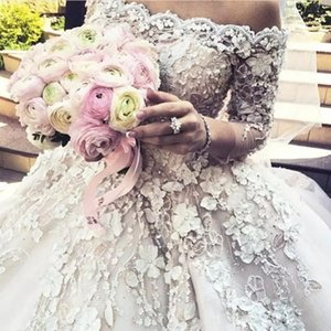 Fabulous Wedding Dresses Bridal Gowns Beaded Lace Floral Applique 3 4 Sleeves Wedding Gowns Gorgeous Off Shoulder Ball Gown Wedding Dresses