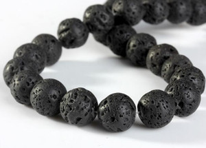 Natural Black Volcanic Lava Stone Round Loose Beads Gemstone Beads for Jewelry Making DIY Components Accessories DHL Christmas Gift