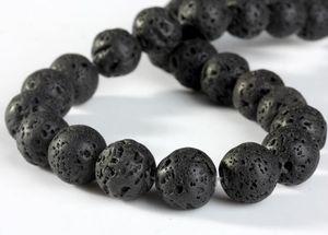 Natural Black vulcanica pietra lavica intorno ai branelli della pietra preziosa branelli allentati per i monili che fanno DIY componenti accessori DHL Regalo di Natale