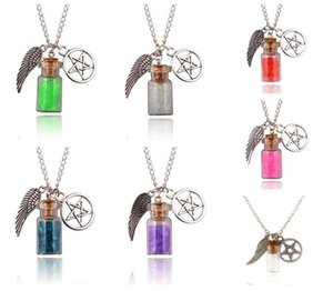 Hot sale Glass Wishing Salt Bottle Angel Wings Five Point Star Retro Amulet Necklace WFN555 (with chain) mix order 20 pieces a lot
