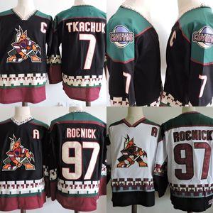# 97 Jeremy Roenick Phoenix Coyotes Jersey para hombre # 7 Keith Tkachuk Black White 1998 Hockey Jerseys Mix Order Wholesale