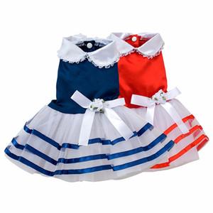 Tutu Dentelle Sailor Dog Robes Stripes Jupe Pour Chiens Dress Pet Princesse Appreal Vêtements 2016 D'été LKT