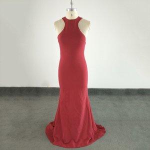 Elegante lange Porm Kleiderhalter-formales Abschlussball-Kleider Sexy Open Back Burdundy Real Sample Carept Mermaid Party-Kleid