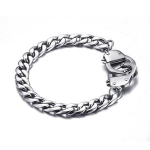 Gümüş Paslanmaz Çelik Bilezik Erkekler Çift Kelepçe Küba frenlemek Link Zinciri Cuff Bilezik 20.5cm