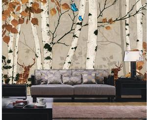 Personalizado qualquer tamanho Branco vidoeiro retro parede mural 3d papel de parede 3d papéis de parede para tv pano de fundo