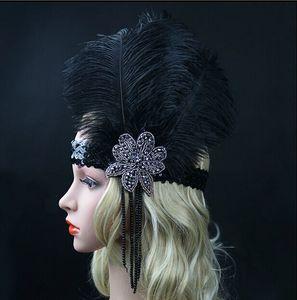 Preto Ostrich Rhinestone partido da pena do vintage Headpiece casamento Headband Flapper 1920 Grande Gatsby Hot Hair Band