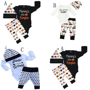 Baby Xmas Halloween pumpkin outfits kids car Christmas tree print hat+romper+pants 3pcs set children cotton suits 3 Styles C2456