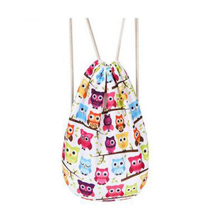 Women Canvas Drawstring Backpack Cute Owl Students School Bagpack Girls Mochila Feminina Spring Travel Sack Bags Drawstring Bag J100