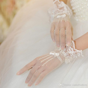 Atacado Barato New Bride Lace Noiva Nupcial Luvas De Casamento Bow Tie Malha Acessórios para festa formal do casamento