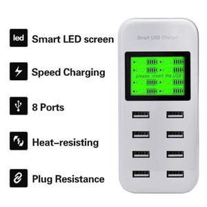 Умный заряжатель USB 8A с дисплеем LCD с 8 портами силы usb для мобильного телефона Samsung xiaomi HTC Сони iphone