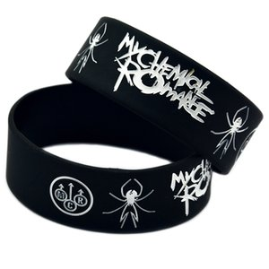 50PCS punky del estilo de la banda My Chemical Romance caucho de silicona pulsera Negro 1 pulgada de tamaño ancho Adultos
