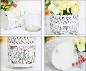 Hollow Lace Metal Modern Holders Creative Mediterranean pastoral white snowflake Decor Candle Holders Design Lantern Tea Light