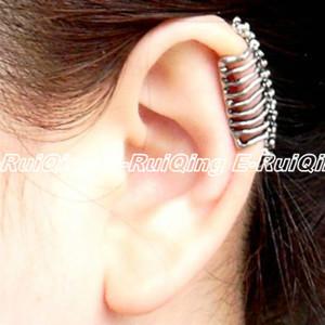 1pc Retro Gothique Punk Rock Aucun Piercing creux os squelette d'oreille Wrap Femmes Lady Vintage Boucles d'oreilles clip Les meilleurs cadeaux de bijoux