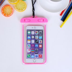 3000pcs Universal Glow in dark Funda impermeable para iPhone7 plus Para Samsung Galaxy J5 S5 Cubierta de la caja de natación a prueba de agua bolsa de teléfono fluorescente