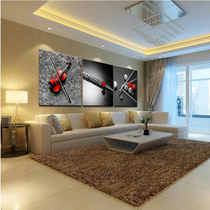 Framed 3 Panel Pure Handcraft Modern Abstract Art Oil Painting guitar,Home Wall Decor on High Quality Canvas in Multi sizes