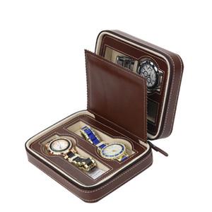 Lujo marrón con cremallera Sport Storage Watch 4 caso Organizador Leather Watch Travel Case para cuatro relojes Forro de terciopelo cajas al por mayor de encargo