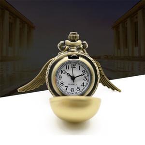 Spedizione gratuita Collana pendente Bronzo dorato Shell ala Catena Antique Women Man Boy Girl Lady Nuovo Pocket Watch Corvonero School