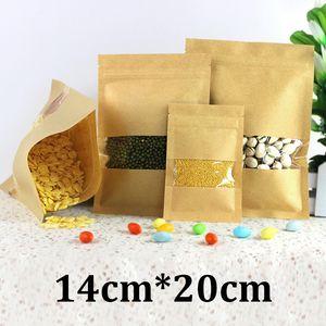 14x20 cm HD temizle plastik pencere gıda sınıfı ambalaj düz açılıp kapanabilir kahverengi hiçbir baskılı kraft kağıt torba