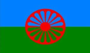 Gypsy Flag Romani Peoples Flagge 3 ft x 5 ft Polyester Banner Fliegen 150 * 90cm Kundenspezifische Fahne im Freien