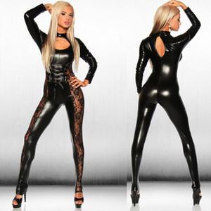 Großhandels- Hot Sexy schwarze Catwomen Jumpsuit PVC Spandex Latex Catsuit Kostüme Punk Gothic Clubwear Leder Bodysuit Dance