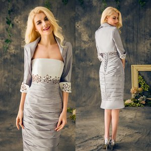 2020 Plus Size Mother Of The Bride Suits Formal Long Sleeves Embroidery Mermaid Trumpet Mother Of The Groom Dresses Satin Tiers Strapless