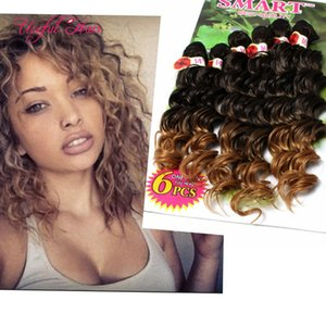 HOT 사는 깊은 물결 모양의 묶음 브라질 곱슬 곱슬 머리 짜다 머리 장식에 MARLEY 바느질 Blonde Extensions burgundy colour weave bundles
