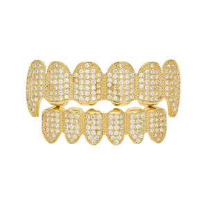Uomini Donne New Custom Fit Gold Plated completa Intarsio Micro Esclusiva di lusso zircone Top Gold Bottom Grillz Vampire diamante dentina denti stretti