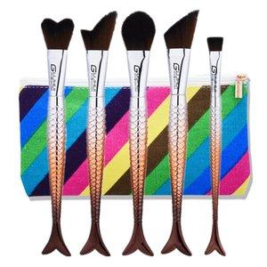 Nuevos cepillos de maquillaje de sirena con cepillo marrón 5pcs Kit de cepillo de maquillaje forma de cola de sirena Herramienta de cepillo de maquillaje con bolsa de DHL gratis